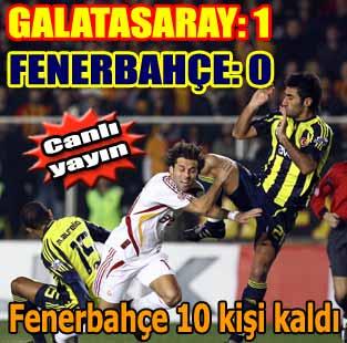 Galatasaray: 1 - Fenerbah�e: 0 (Ma� devam ediyor)  Spor  Milliyet �nternet