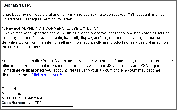 msn fake email